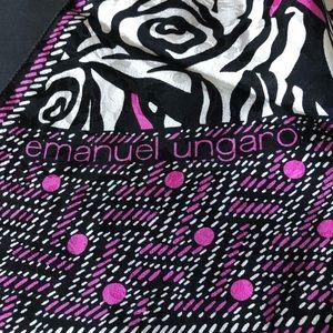 Emanuel Ungaro black white and pink silk scarf 💝